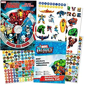 Marvel Avengers Coloring Book and Stickers ~ Captain America, Thor, The Hulk, Iron Man, and More!
