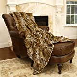 "Best Home Fashion Faux Fur Throw Blanket 58"" x 84"" - Leopard - TR"
