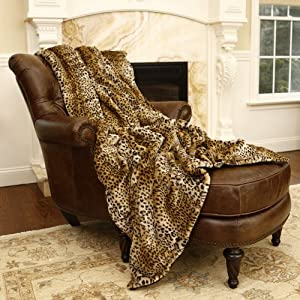 "Faux Fur Throw Blanket 58"" x 84"" - Leopard - TR"