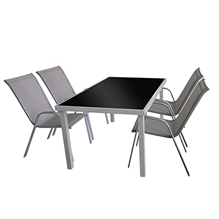 5tlg. Gartengarnitur Glastisch 150x90cm + 4x Stapelstuhl Textilenbespannung Grau Sitzgarnitur Sitzgruppe Gartenmöbel Terrassenmöbel Set