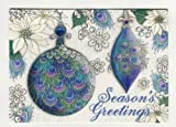 95599-Punch-Studio-Boutique-Christmas-Greeting-Cards-Peacock-Feather-Ornaments-Glitter-Crystal-Boxed-Set-of-12