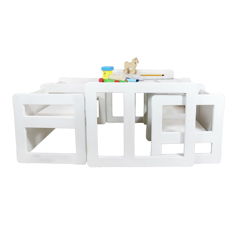 3 in 1 Multifunktionale Kindermöbel im Fünfer Set Bestehend Aus einem Multifunktionalen Kindertisch oder Kindersitzbank und vier Multifunktionale Kinderstühle oder ein Multifunktionales Nest von fünf Couch- Beistelltischen, aus Massivem Buchenholz Weiß Lackiert kaufen
