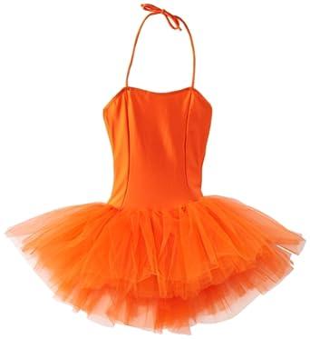 Sansha Big Girls' Shirley Leotard w/ Tutu, Orange, Medium
