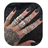 Setita 13 Pieces Turkish Elephant Moon Turquoise Joint Knuckle Nail Midi Ring Set Boho Ring Set (Ancient silver) (Color: Ancient silver)