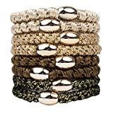 Kitsch 8 Piece Perfect Ponytail Hair Ties with Metal Accent - Gold