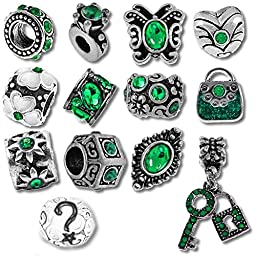 Timeline Trinketts Birthstone Beads and Charms for Pandora Bracelets - May Emerald Green