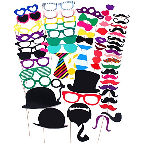 [COOLOO Party Photo Booth Prop DIY Kit, 62 Pieces] (Moustache Halloween)