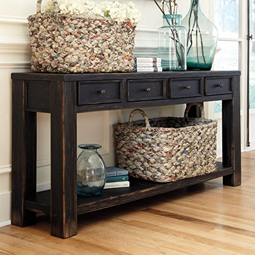 Signature Design by Ashley Gavelston Black Sofa Table (Sofa Tables Living Room compare prices)