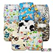 LittleBloom, Reusable Pocket Cloth Nappy, Fastener: Velcro, Set of 8, Patterns 815, With 8 Microfibre and 8 Bamboo Inserts, 6296