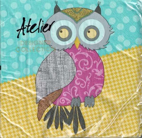 Atelier - Servietten - Modern Owls / türkis - 15005 - Eule