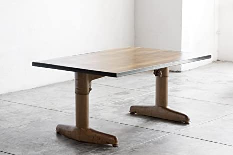 Mid Century Coffee Table on Industrial Base with Reclaimed Wood Top