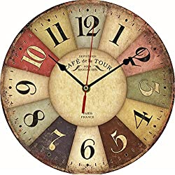 BLABLABLA 12 Vintage European Creative Frameless Wooden Electronic Wall Clock of French Country Tuscan Style DIY Assembling Clock