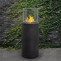 Real Flame 870-BS Modesto Fire Column, Black Slate from Jensen Metal Products (Real Flame)