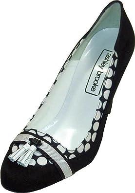 Ashley brooke, escarpins femme-cuir-noir/blanc