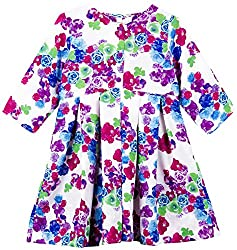 Oye Girls Dress with Front open Placket - White/Pink/Green/Blue (3-4Y)