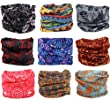 Kingree 9PCS Outdoor Multifunctional Sports Magic Scarf, High Elastic Magic Headband with Uv Resistance, Headscarves, Headbands,(Flora Print 13)