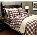 Pinzon 160 Gram Yarn Dyed Flannel Fullqueen Duvet Cover Creamred Plaid