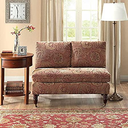 Bordeaux Nutmeg Paisley Loveseat Wood Sofa