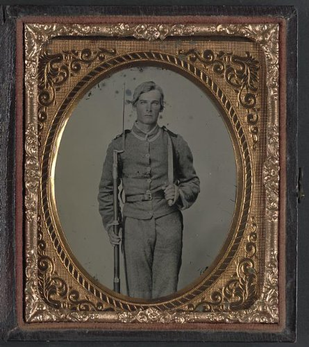 Photo: Unidentified Soldier In Confederate Uniform With Musket,D-Guard Bowie Knife