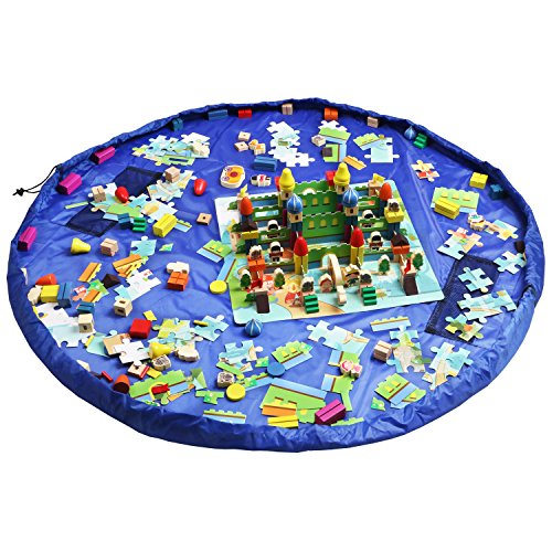 Cheap Homecube Large 59 Inches Diameter Baby Kids Play Floor Mat Toy Storage Bag Organizer Blue