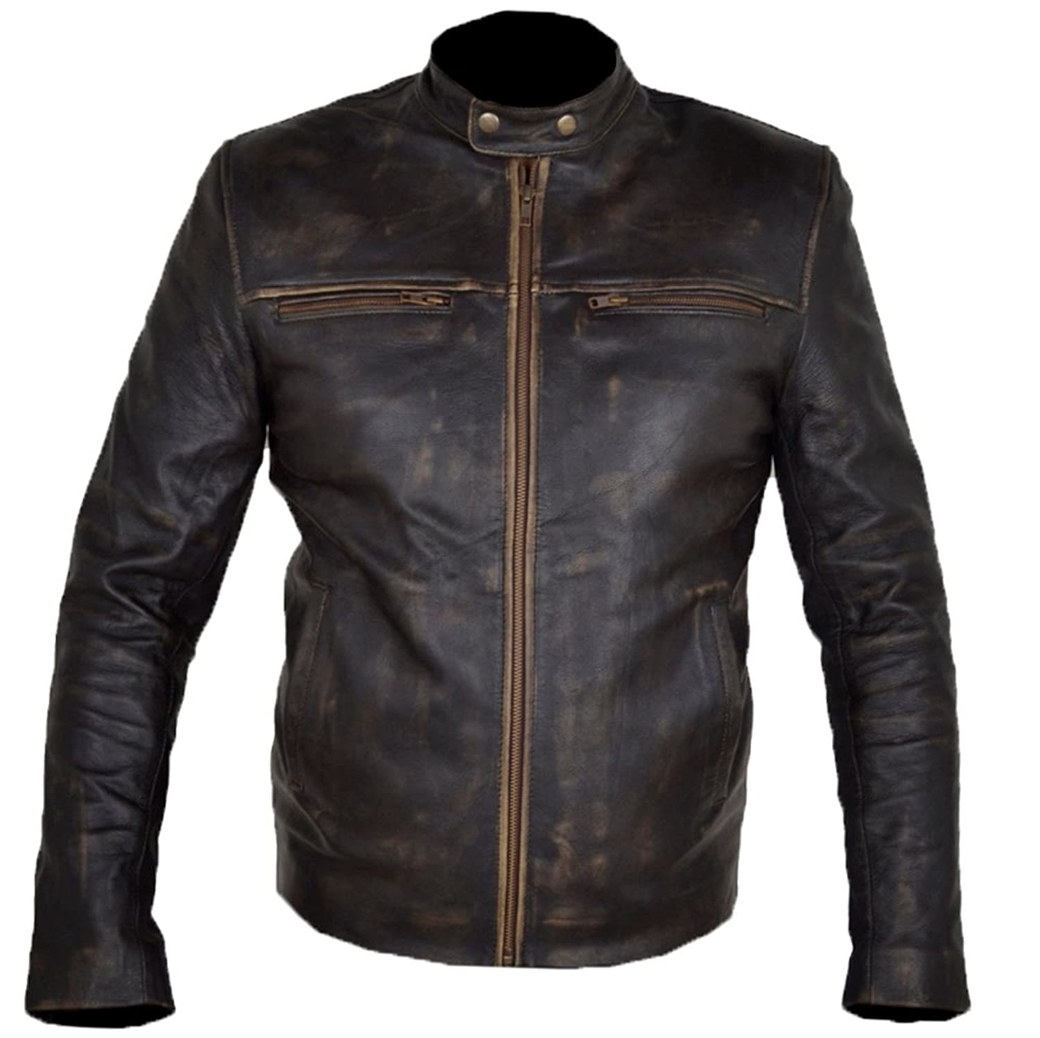 Hunger Games Wes Bentley Distress Brown Vintage Cowhide Leather Jacket
