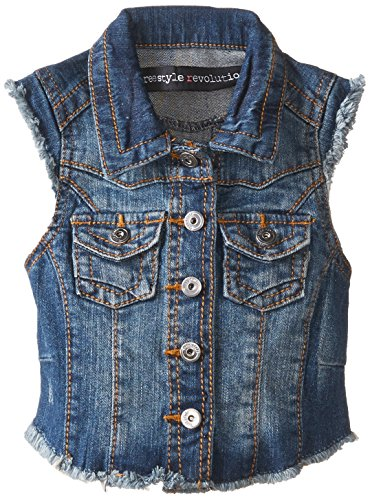 Freestyle Revolution Little Girls' Jordan Denim Vest, Perfect Blue Wash, 5 front-445613