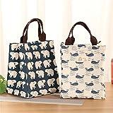 Saumota Fashion Design Cotton Linen Reusable Lunch Bag Insulated Tote Bag Adults Cooler Bag Kids Picnic Bag-Tree