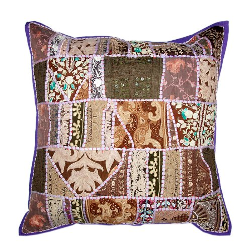 Marvellous Home Decor Art Rajrang Embroidery Work & Patch Work Cotton Blue & Brown Color Cushion Cover/ Throw Pillow Cover Comforter Sets India Size: 24 X 24 Inches (2 Pcs)