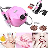 Electric Nail Drill Machine Nail File Drill Set Kit for Acrylic Nails, Gel Nail, Nail Art Polisher Sets Glazing Nail Drill Fast Manicure Pedicure by Buycitky (Pink) (Color: Pink)