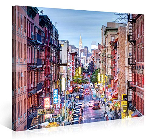 impression gicl e sur toile en grand format china town new york city 100x75cm photo sur. Black Bedroom Furniture Sets. Home Design Ideas