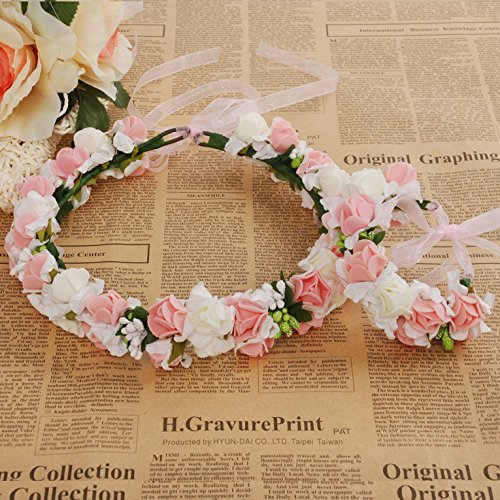 Meiliy Bridal Flower Garland Crown Flower Headband Hair Wreath Halo with Flower Wrist Corsage for Wedding Festivals (PINK)