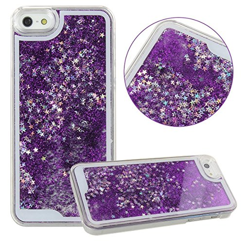Rinastore iPhone 6s case,iphone 6 case,Creative Design Flowing Quicksand Moving Stars Bling 3D Glitter Floating Dynamic Flowing Case Liquid Cover for Iphone 6 4.7inch (Purple star )