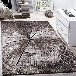 Edler Designer Teppich Wohnzimmer Holzstamm Baum Optik Natur Grau Braun Beige , Grösse:80x150 cm