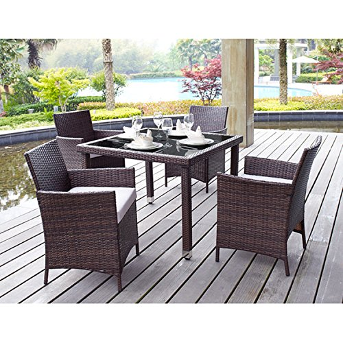 5 Piece Outdoor Patio Dining Set with Tan Cushions - UV Weather Resistant Rattan Wicker & Heavy Duty Steel Powder Coated Furniture - Rectangular Table with Umbrella Hole - Seat for 4 - Brown Finish