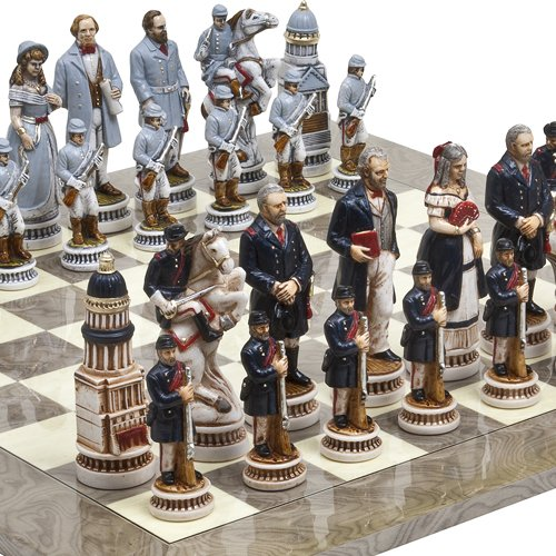 "American Civil War Luxury Chessmen from Italy & Greenwich Street Chess Board. Giant Size King: 5 5/8"" at Amazon.com"