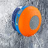 Abco Tech Water Resistant Wireless FM Radio Bluetooth Shower Speaker with Suction Cup and Hands-Free Speakerphone, Orange/Blue
