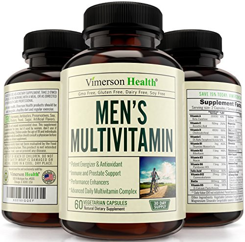 Men's Multivitamin All Natural, Non-Gmo, Gluten Free, Dairy Free. With Biotin + Foliac Acid + Vitamins A B C D E + Calcium + Zinc + Lutein + Magnesium + Manganese & More. Multivitamins for Men
