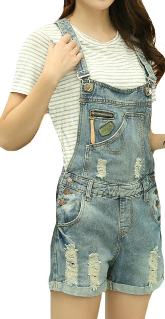 ASL Women Fashion Casual Denim Holes Vintage Overall 0