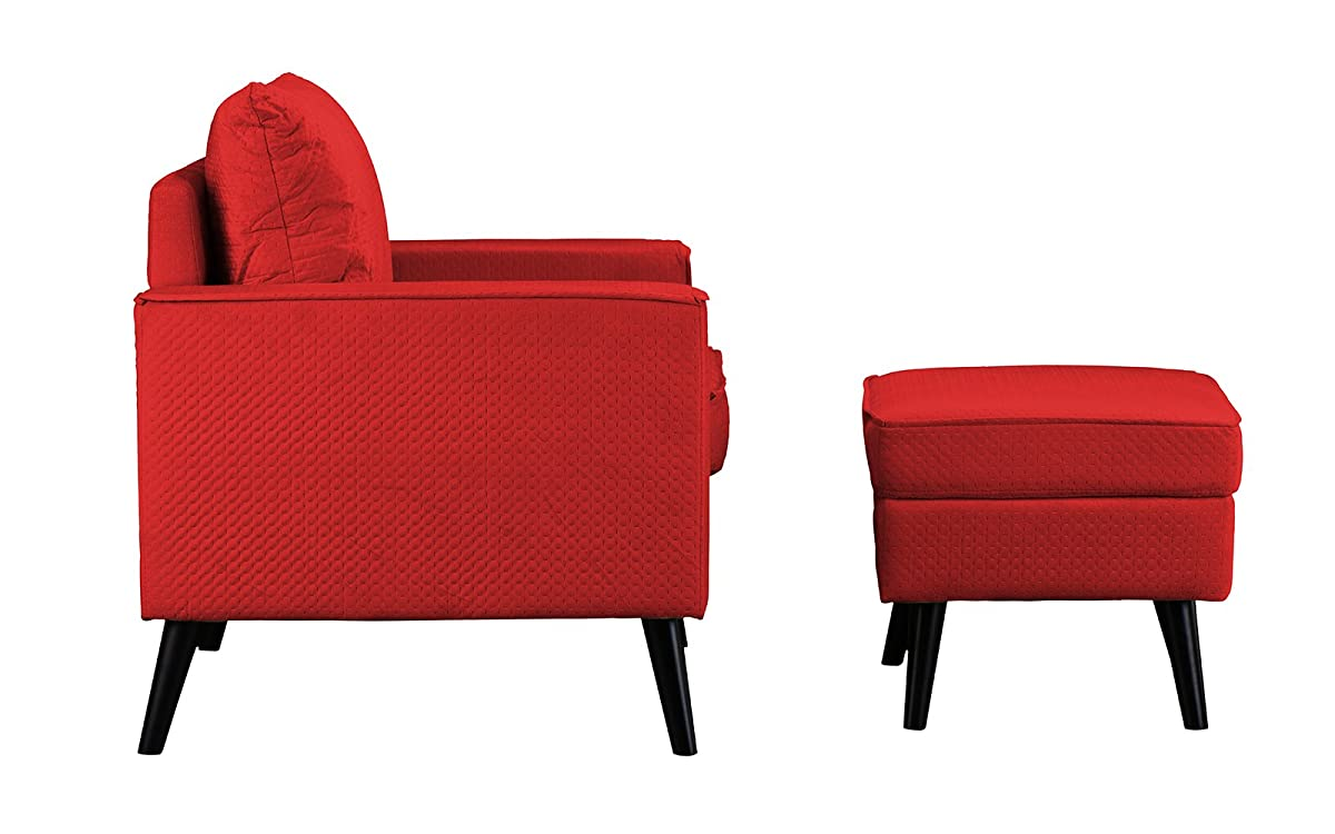 Mid-Century Brush Microfiber Modern Living Room Large Accent Chair with Footrest/Storage Ottoman (Red)
