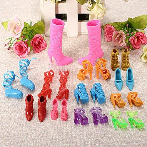 Pink Lizard 12 accoppiamenti Fashion Dolls scarpe tacchi sandali impostati per bambola barbie