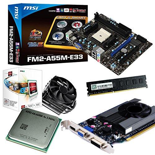 tronics24 PC Aufrüstkit | AMD A8-6600K 4x 3.9GHz Quad-Core | 4GB High-Speed DDR3-RAM PC-1600 GSKILL | Nvidia GeForce GT630 4GB | MSI A55M-E33 Mainboard mit AMD A55 Chipset | Gigabit-LAN | Soundkarte