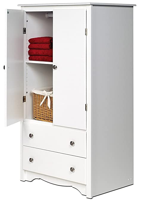 2-Door Armoire in White Finish