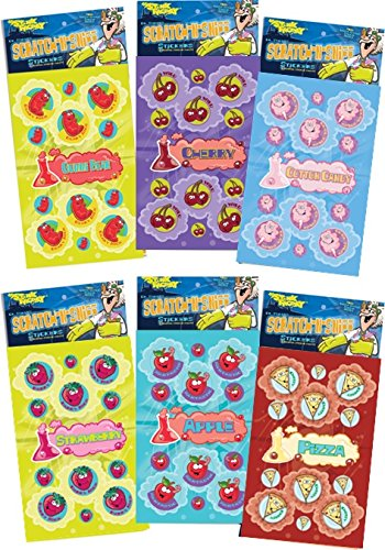 Dr. Stinky's Scratch N Sniff Stickers 6-Pack- Strawberry, Pizza, Cherry, Cotton Candy, Gummi Bear, Apple 162 Stickers - 1