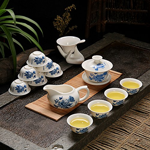 ufengke®Ceramic Porcelain kungfu Tea Cup Set with Lid and Saucer