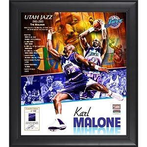 Karl Malone photo collage & game used jersey piece (Utah Jazz) Memorabilia Lane... by Mounted Memories