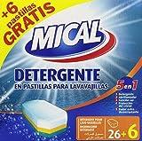 Mical - 5 en 1 - Detergente en pastillas para lavavajillas - 32 pastillas x 20 g