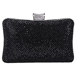 Fawziya Big Evening Bags For Women Rhinestone Crystal Clutch Bag-Pure Black
