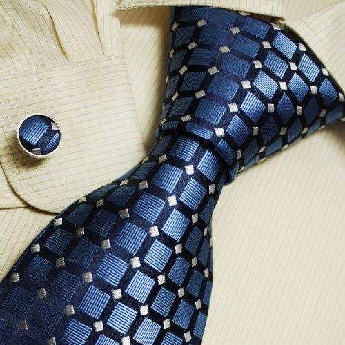 Blue Pattern Men Neck Ties Handmade Ddiscount Silk Tie Cufflinks Set A1065