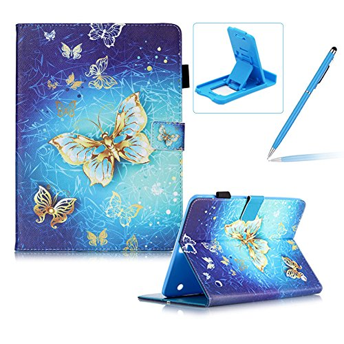 "Samsung Galaxy Tab S2 9.7"" SM-T815 Flip Leather Case,Samsung Galaxy Tab S2 9.7"" SM-T815 Slim Lightweight Wallet Kickstand Case,Herzzer Fashion Pretty [Luxury Butterfly Printed] Shockproof Scratch Resistant Perfect Fit PU Leather Wallet Purse Folio Smart Stand Cover with Card Cash Slot Soft TPU Inner Case Protective Skin for Samsung Galaxy Tab S2 9.7"" SM-T815 + 1 x Free Blue Cellphone Kickstand + 1 x Free Blue Stylus Pen"