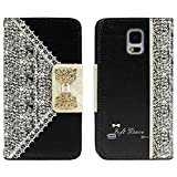 Ukamshop Black Fresh Cute Flip Wallet Leather Case Cover for iPhone 5S 5 5C 4 4S Samsung Galaxy S5 i9600 S4 i9500 S3 i9300 Note 3 N9000 Note 2 N7100 (Samsung Galaxy S5)